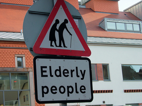 sign - elderly crossing